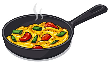 Scrambled eggs with tomatoes on the pan