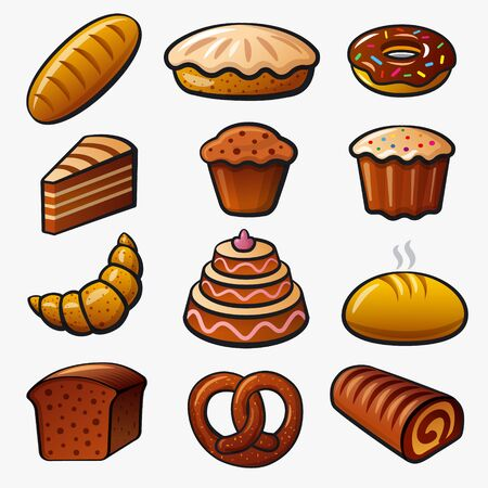 Bakery and bread color icons