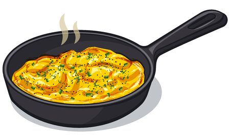Scrambled eggs on the pan