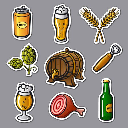 illustration of the beer drinks and snacks stickers 向量圖像