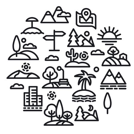 concept illustration of landscapes and nature icons set