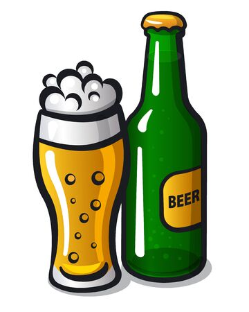 Illustration of the beer glass and bottle on the white 向量圖像