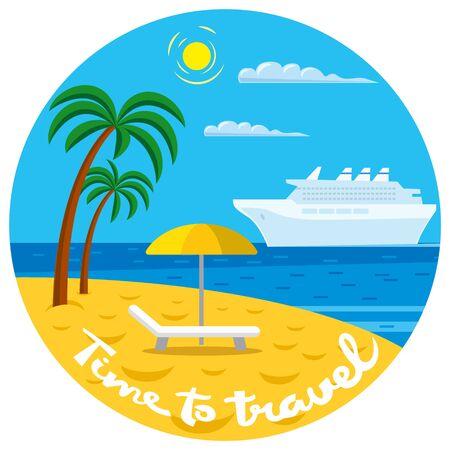 Passenger cruise liner near the tropical beach in the ocean Vetores