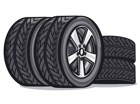 llustration of the car tyres on the white background Banque d'images - 133139759