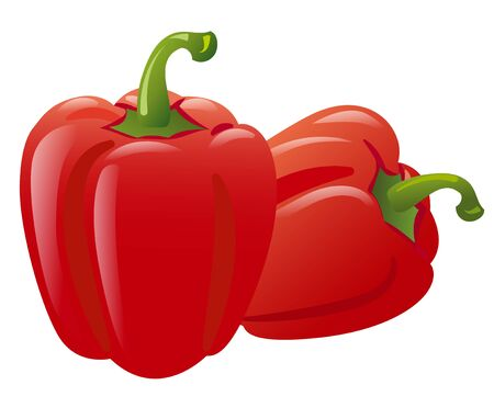 Red bell peppers on the white