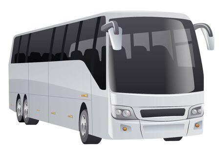 illustration of the white passenger city bus on the white background Ilustración de vector