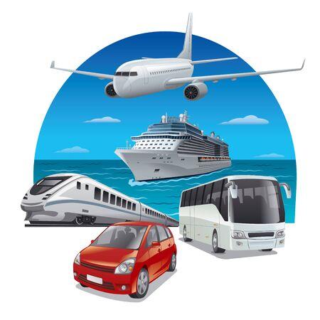 Reisen und Reisen mit verschiedenen Verkehrsmitteln