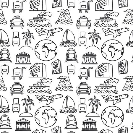 Black and white travel seamless pattern of resort, cruise and transport Vetores