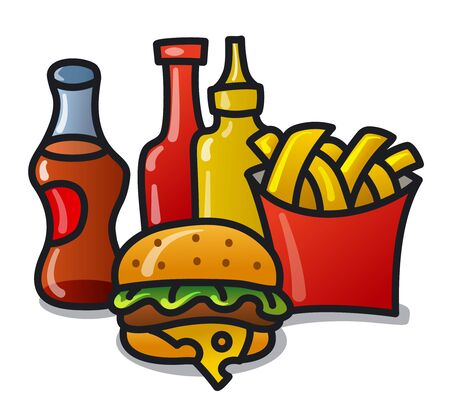 illustration of the fast food meals on the white background Foto de archivo - 135112465