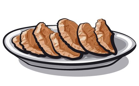 illustration of the sliced liver goose on the plate