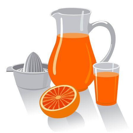 illustration of the grapefruit fresh juice and juicer Çizim