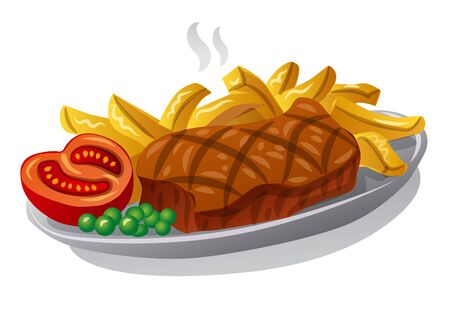 illustration of the grilled beef steak with fries on a plate