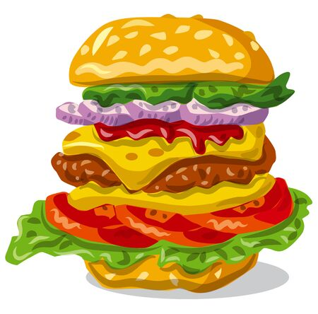 illustration of the hamburger sandwich with lettuce and cheese