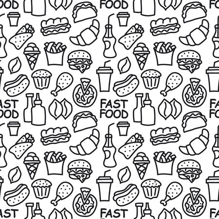 illustration of the fast food seamless pattern black and white