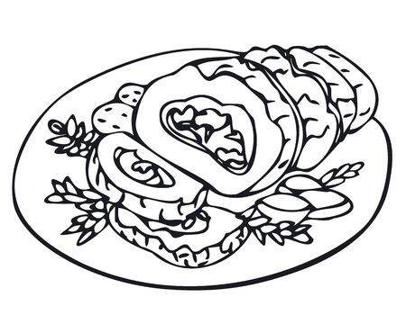 Roulade de porc avec pomme de terre au four sur l'assiette Vecteurs