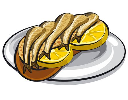 illustration of the sandwich with a canned sprats and lemon