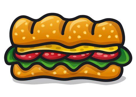 Kanapka z kiełbaskami i serem na białym Ilustracje wektorowe