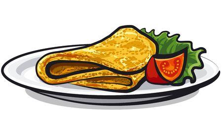Tortilla en el plato con ensalada