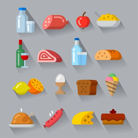 illustration of the food products and meals minimal icons