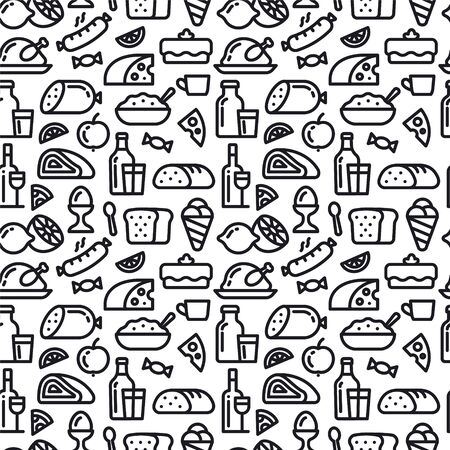 Illustration of the meal and food seamless pattern