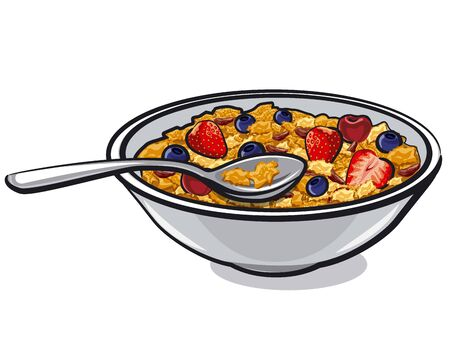 illustration of the muesli with berries in the plate 向量圖像