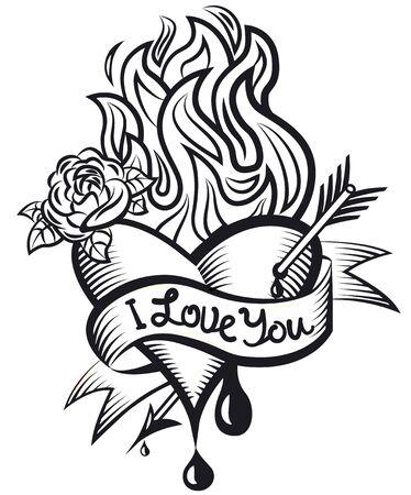 illustration of the tatoo style bleeding loving heart