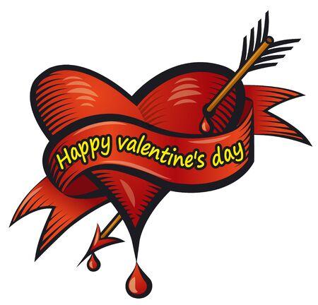 illustration of the valentine's day bleeding loving heart