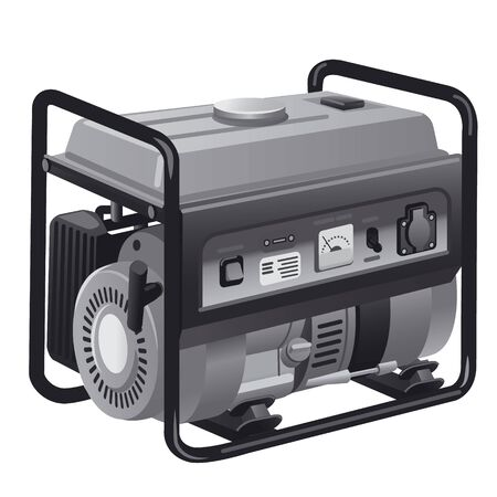 illustration of industrial power generator in a grayscale color