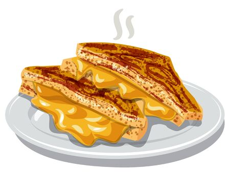 illustration of the grilled cheese sandwiches on the plate