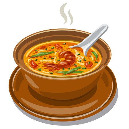 illustration of the hot Thai Tom Yum Soup with shrimps