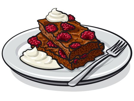 illustration of the raspberry brownie with sour cream on the plate