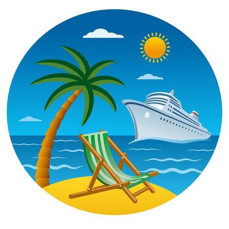 passenger cruise liner near the tropical beach in the ocean