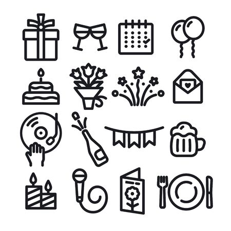 illustration of the black outlines celebrations and event icons