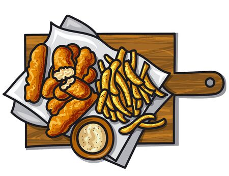 Fish fingers with fried potato chips and sauce  イラスト・ベクター素材