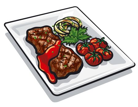 illustration of the grilled beef steak with a tomatoes and onion on the plate Illusztráció