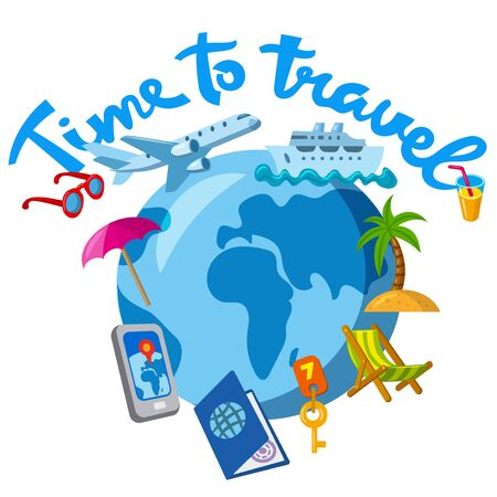 illustration of the cartoon travel and journey concept icon