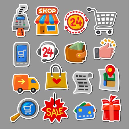 illustration of the set shopping and sale stickers in a cartoon style Ilustración de vector