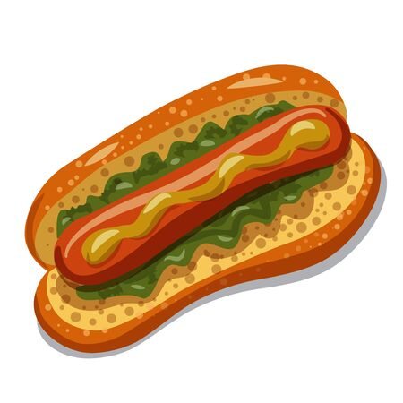 Hot Dog with lettuce and mustard on the white background