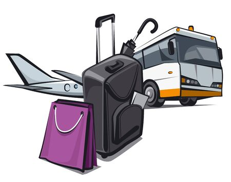 concept illustration of the private baggage in the airport for travel