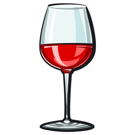 illustration of the red wine glass on the white background