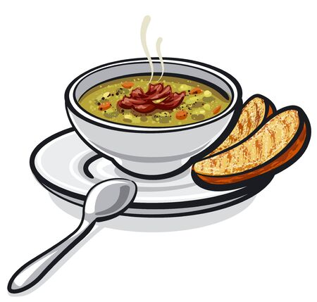 illustration of the pea soup with ham and croutons in the bowl Illusztráció
