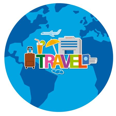 travel around the world concept flat illustration, cruise and journey