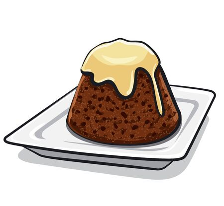 illustration of the plum pudding with a raisins on the plate