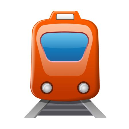 illustration of the train locomotive glossy icon on the white background