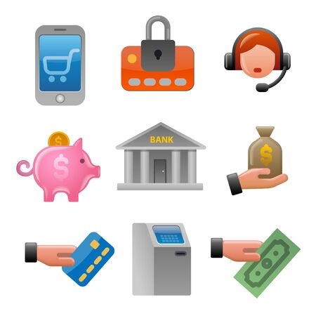 illustration of business and finance glossy colorful icons set