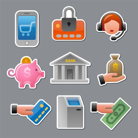 illustration of business and finance glossy colorful stickers and tags set