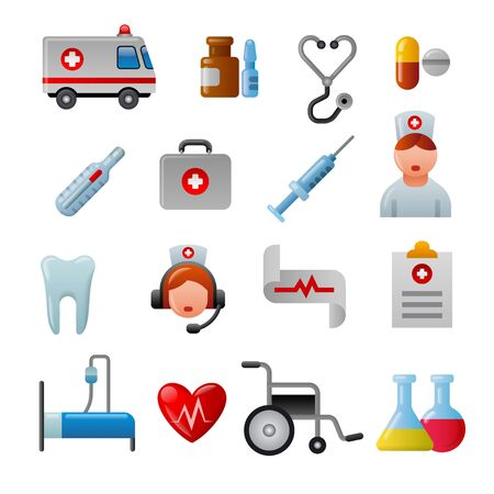 illustration set of glossy color medicine icons and pictogramms