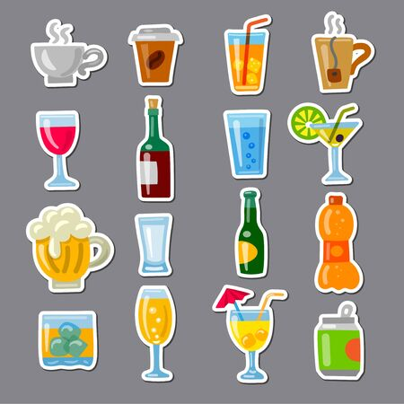 illustration of the alcohol drinks and beverages icons set Vector Illustration