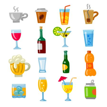 illustration of the alcohol drinks and beverages icons set Illustration