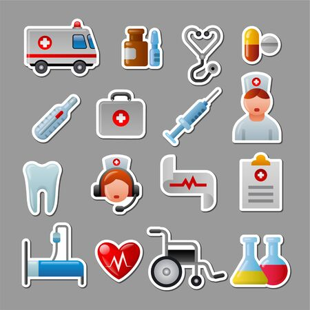 illustration set of glossy color medicine stickers and pictogramms